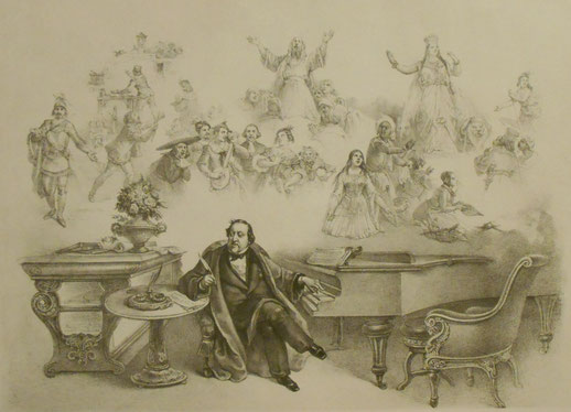 「ロッシーニと音楽の霊感」(作者不詳のリトグラフ、1850年代)