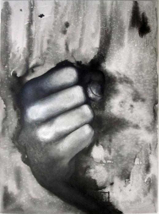 ohne Titel # Hand 1, Öl- und Wasserfarbe auf Leinwand, 110cm x 150cm, 2014