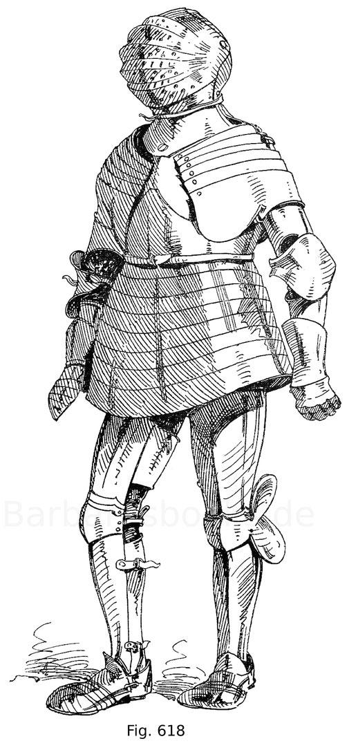Fig. 618. Harnisch für den deutschen Fußkampf des burgundischen Kämmerers Claude de Vaudrey, in welchen gerüstet derselbe mit Kaiser Maximilian I. am Reichstag zu Worms 1495 sich maß. Um 1590. Nach Leitner, Freidal.