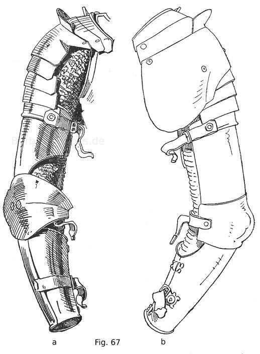Fig. 67a. Rechtsseitiges Armzeug von einem Harnisch Ferdinand des Katholischen, Königs von Arragonien. Italienische Arbeit um 1480. Fig. 67b. Rückseite von Fig. 67a.