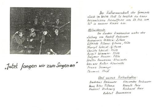 Programm des 1. Adventsingens mit Hirtenspiel 1978