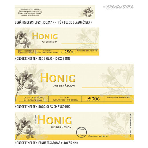 Honigetiketten zum Bestempeln, Design für Honig, Honigglasetiketten, Etiketten, Imker, Honiggläser, Honig Labels, Etikettendesign, Labledesign