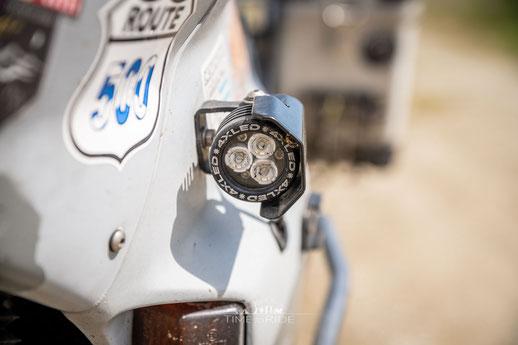 4XLED Supermini MID Zusatzscheinwerfer an Honda Transalp Weltreise Umbau