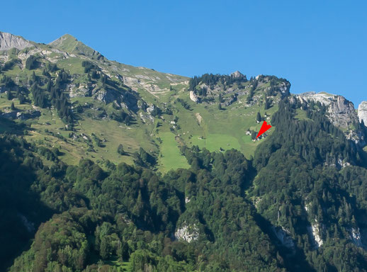 Der rote Pfeil bezeichnet die Stelle, von der aus das untenstehende Bild aufgenommen wurde.