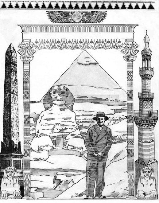 17 : Egypt. Pen, pensils & montage