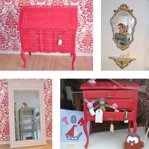Auf dem Foto sieht man 4 einzelne Möbelstücke, die mit Kreidefarbe gestrichen wurden.