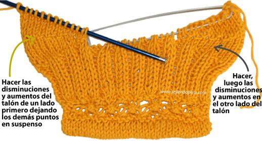 Medias tejidas con 2 agujas tejiendo per - Como hacer talon de calcetines de lana ...