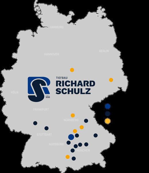 Karte Standorte von Richard Schulz Tiefbau