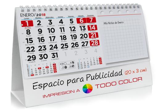 Calendario sobremesa de NOTAS