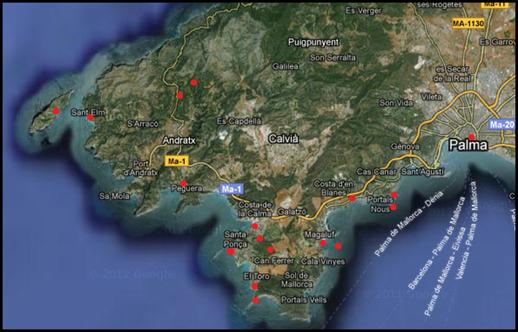 Overzicht van door ons bezochte gebieden. Naast deze plekken ben ik nog in het noordoosten van het eiland geweest.