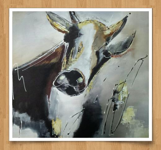 El gracioso torro  90 x 90cm  Acryl auf Leinwand  -verkauft-