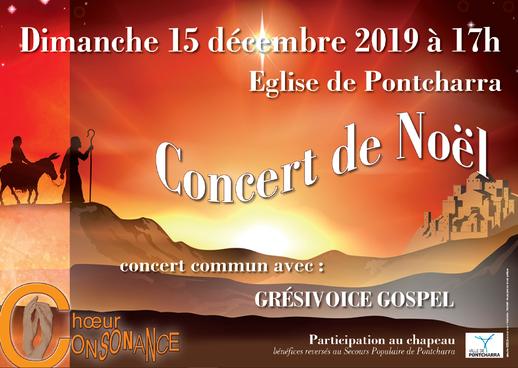 Concert de Noël à l'église de Pontcharra - Choeur Consonance & Grési'Voice - dimanche 15 décembre 2019 17h