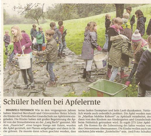 20.10.2015 Schüler helfen bei der Apfelernte (WNZ)