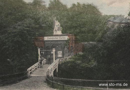 Die Aa-Brücke zum Zooeingang - noch eine Holzkonstruktion