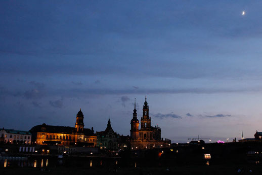 Skyline of Dresden by night, German big cities