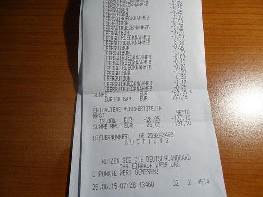 Stolze 163,15 € an Spenden wies der Kassenzettel bei der 2. Pfandbox-Leerung im Edeka in Ebern aus