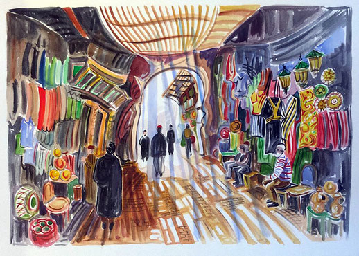 ZOCO (MARRAKECH). Watercolor on pressed paper. 56 x 76 x 1 cm.