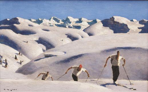 Alfons Walde aus Kitzbühel widmet sich ab 1920 dem neuen Phänomen Skisport.