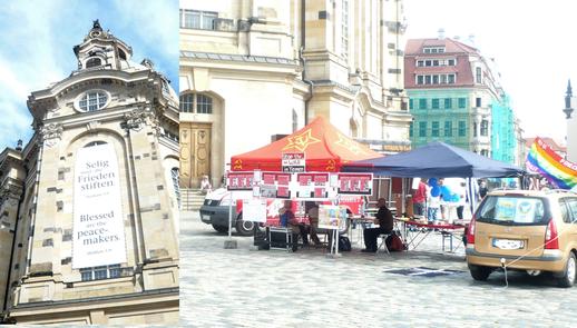 Dresden - 21.09.2018: Friedensinitiative Dresden - Ein Friedensfest unter der weltbekannten Frauenkirche in Dresden