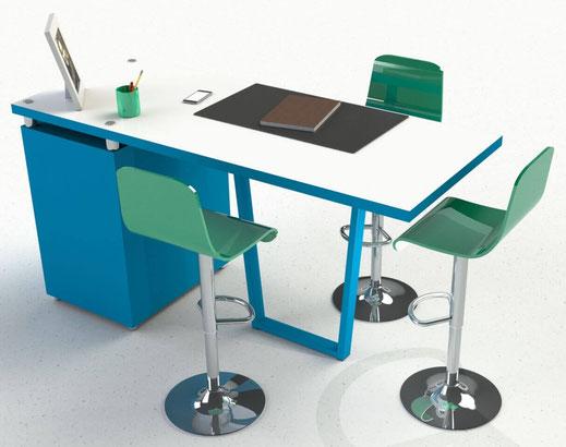 pied de table en trapèze coloris bleu pour bureau design