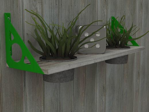 équerre console pour étagère murale et pots fleurs