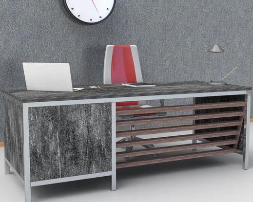 bureau design sur-mesure avec ossature inox