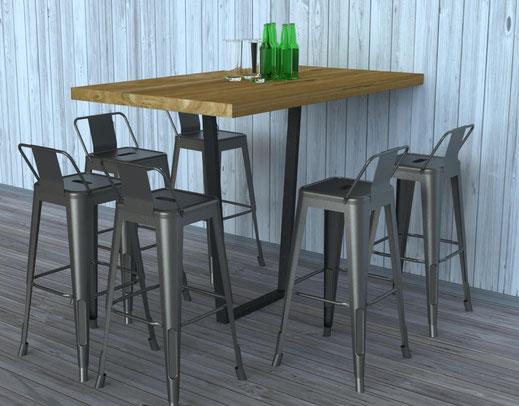 pied de table haute pour bar et restaurant coloris noir