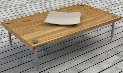 table basse sur-mesure avec pieds forme clou