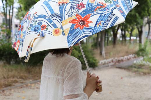 竹製持ち手の着物リメイク日傘の一例