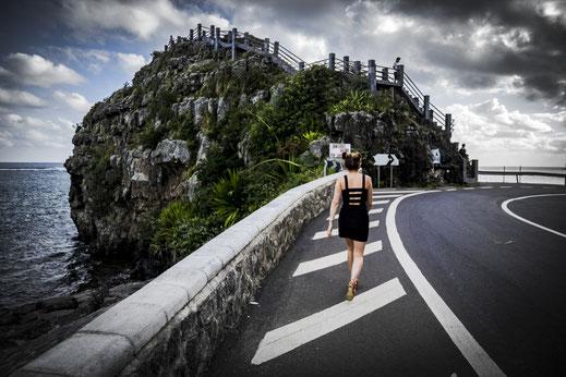 Mauritius Bel Ombre View Point zum indischen Ozean mit Person