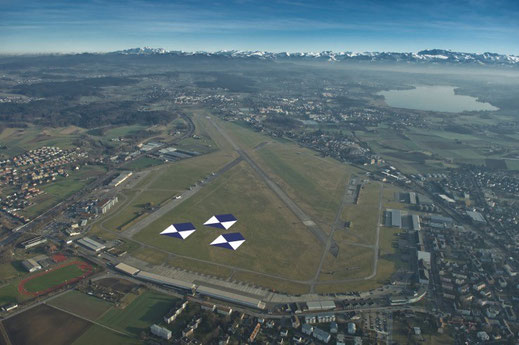Militärflugplatz Dübendorf. Luftaufnahme von Norden   Quelle: Luftwaffe