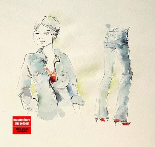 Mappenkurs Modedesign, Modezeichnen, Modedesignstudium, Modedesign studieren Düsseldorf NRW