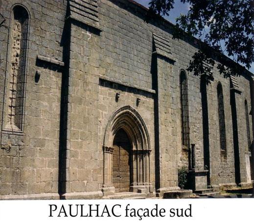 Façade sud de l'église de Paulhac