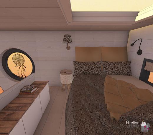 Tiny House, habitat léger, chambre, mezzanine