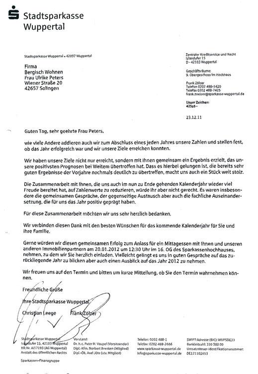 Referenz der Sparkasse Wuppertal