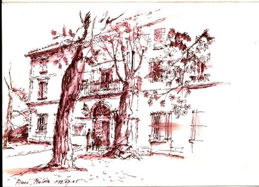 Flaux, Mairie 2005 (Filzstift laviert)