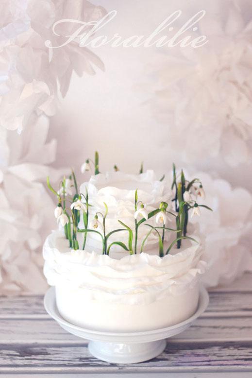 Schneeglöckchentorte | Floralilie Sugar Art