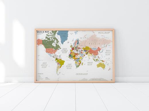 Handgemalte Weltkarte von Zero per Zero in beige