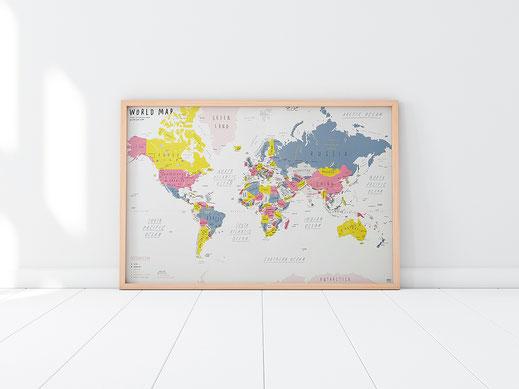 Handgemalte Weltkarte von Zero per Zero in weiß