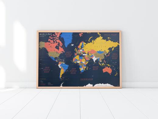 Handgemalte Weltkarte von Zero per Zero in navy2