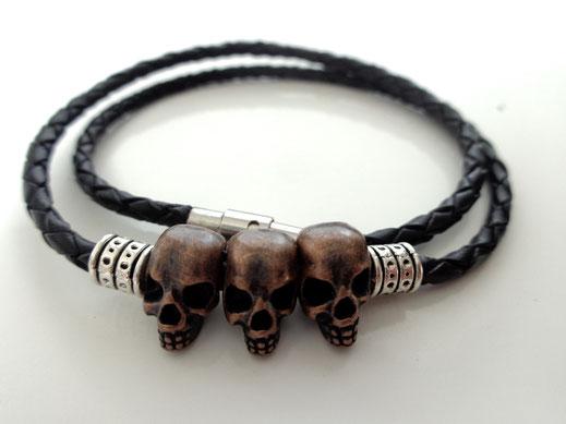 "Bracelet cuir tressé "" Trio """