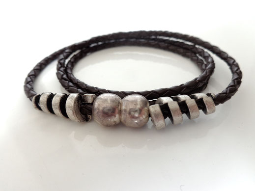 Bracelet cuir tressé #3