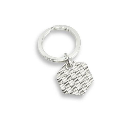 Schlüsselanhänger Silber Honig sechseck wabe korb bienenkorb keycharm keypendant Honey honeycomb basket