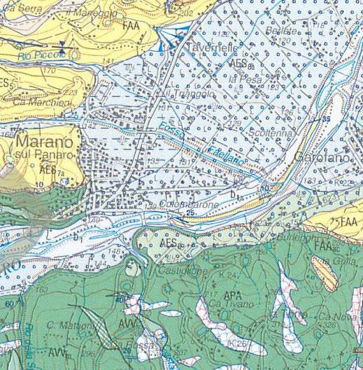 Carta geologica dell'area di Marano sul Panaro.