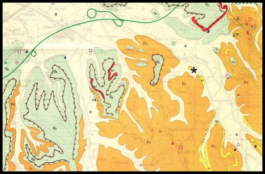 """Inquadramento geologico della zona, immagine presa da """"Le associazioni a molluschi fossili della cava di Marti"""", di Andrea Corti."""