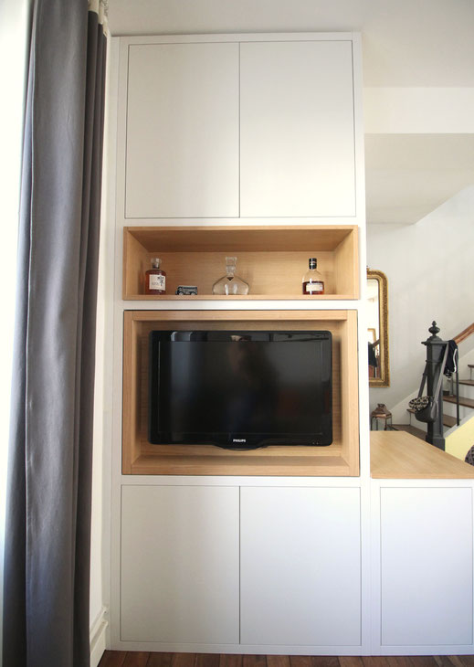 Meuble double face entrée et salon sur mesure avec caisson de télé amovible, Ma Jolie Maison, Julienne Le Brun