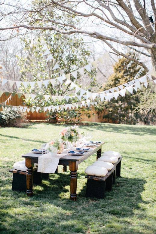 Guirlandes de fanions en papier, jardin, guinguette