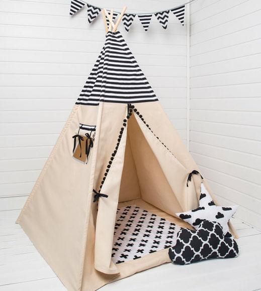Décoration chambre enfant Tipi Black&White, Etsy
