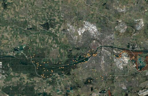 Einzelbeoachtungen vom Buntspecht 2019 (Basis Google-Earth/ Copyright LBV Ingolstadt)