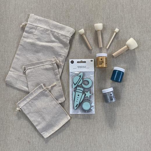 Stempel Set Rakete - Erstes Stempeln auf Textilien
